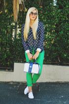 navy horse print Zara blouse