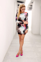 black tropical new look dress