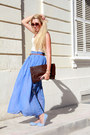 Blue-maxi-boohoo-skirt