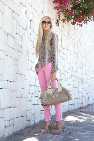tan snakeskin Zara blouse
