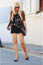black asos shorts