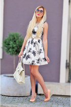 off white palm tree print new look dress