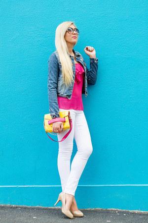 yellow Romwecom bag - blue studded Zara jacket