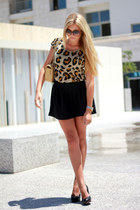 dark brown leopard print Zara shirt - camel Chanel bag - black Topshop skirt