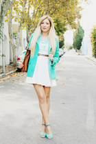 turquoise blue new look coat