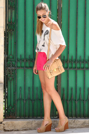 hot pink H&M shorts - nude asos bag - beige romwe top