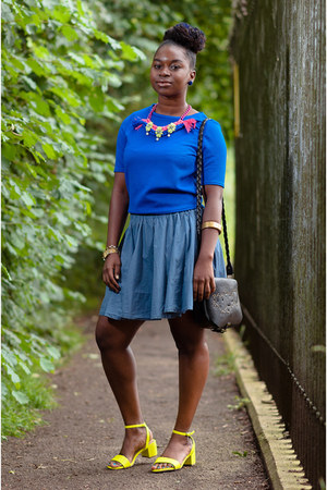 statement Boohoo necklace - blue new look top - skater H&M skirt