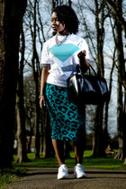 animal print Boohoo skirt - black Zara bag - white diamond supply t-shirt