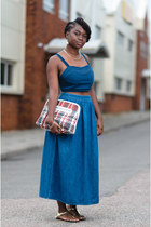 weave clutch asos bag - denim maxi warehouse skirt - denim crop asos top