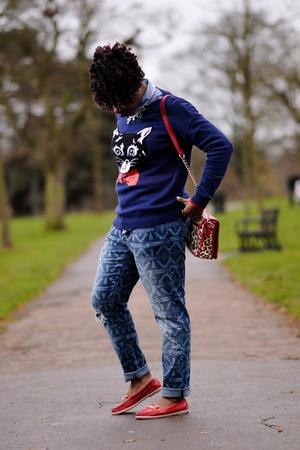 cat asos jumper - boyfriend jeans asos jeans - leopard print Matalan bag