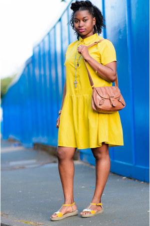 yellow Boohoo dress - satchel Newlook bag - platform vintage sandals