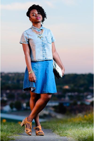 buttondown Newlook blouse - circle Newlook skirt - tan USC clogs