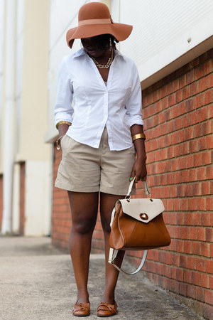 satchel Aldo bag - floppy hat Marks and Spencers bag - button down Primark shirt