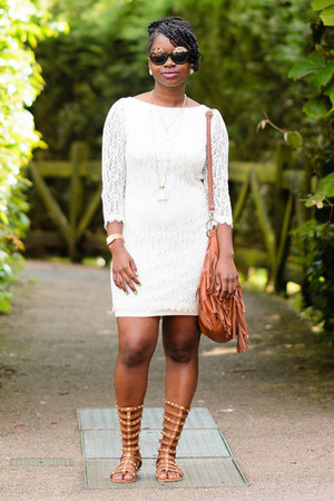 white lace Primark dress - Matalan sandals