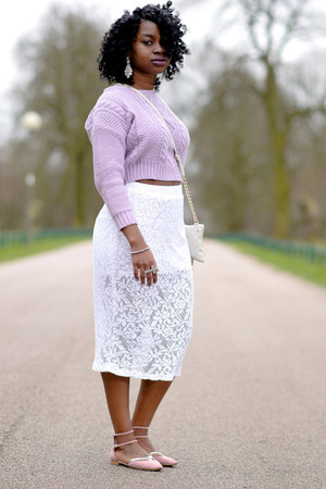 lace midi Boohoo skirt - trench coat Primark jacket - pastels Zara flats