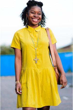 yellow Boohoo dress - satchel Newlook bag - platform no brand sandals