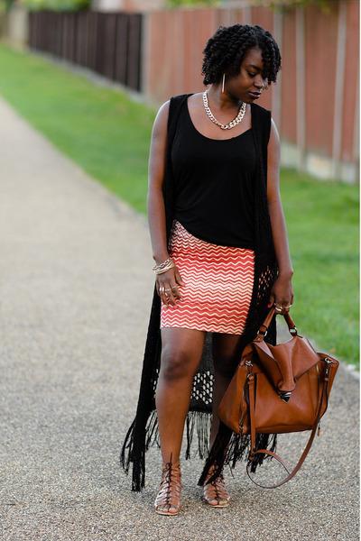 satchel Zara bag - lace up asos sandals - bohemian new look cardigan
