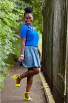 neon asos sandals - skater H&M skirt - blue new look top