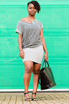 grey Primark t-shirt - bodycon Primark dress - tote Zara bag