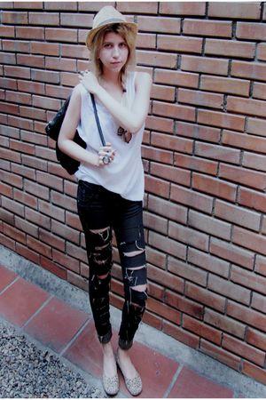 black Studio 54 jeans - white made it myself shirt - brown Regina shoes - black