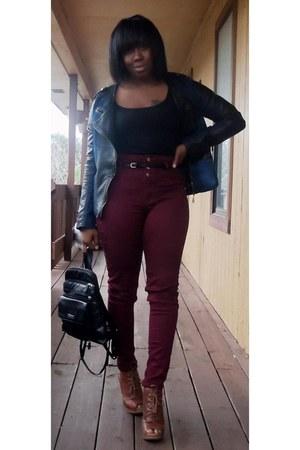 tawny peep toe ankle boots - blue jacket - black purse