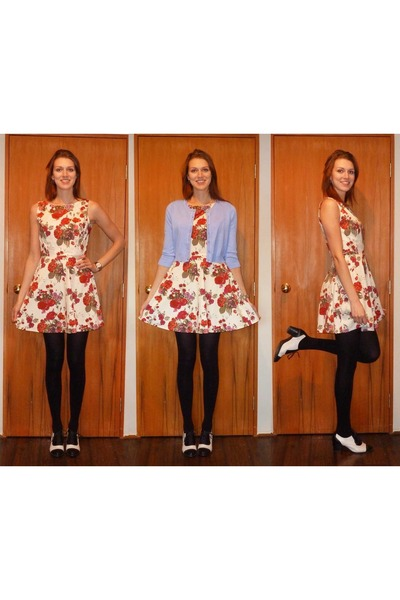 black asos heels - eggshell dress - sky blue Glassons cardigan