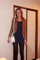tawny warehouse jacket - navy asos dress - white Forever New bag - navy heels