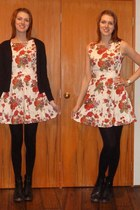 black boots - eggshell dress - black supre cardigan