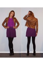 black Overland boots - brown asos jacket - magenta cotton on shirt