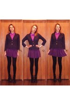 navy blazer - black boots - magenta shirt - purple skirt