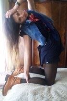 t-shirt - vintage jacket - shorts - panties - boots