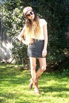 t-shirt - vintage skirt - boots - scarf - sunglasses
