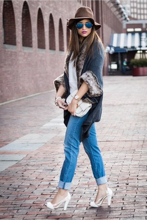 brown marshall Accessorize hat - blue jeans - white Michael Kors bag - gray cape