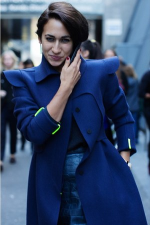 blue neon green trim coat