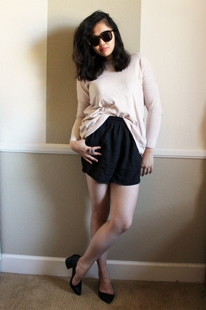 light pink sweater - dark gray silk shorts - black chunky heels