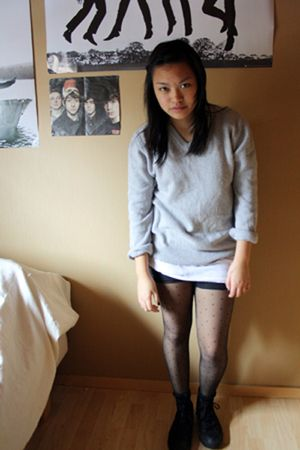 black - pants - white - t-shirt - silver - sweater