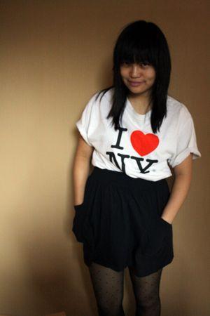 black Forever 21 skirt - black lindex stockings - white random shop in nyc t-shi