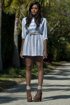 dark brown Jeffrey Campbell shoes - light blue vintage dress