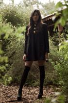 black vintage Neiman Marcus dress - black Jeffrey Campbell heels