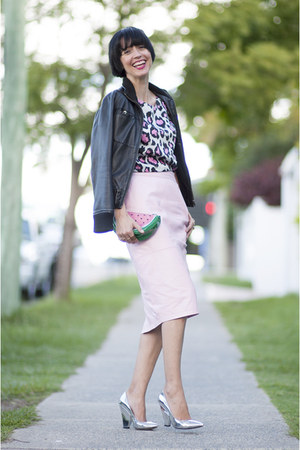 River Island skirt - Zara jacket - watermelon peter alexander bag