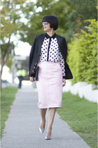 pink leather River Island skirt - tuxedo French Connection jacket