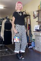 rubiks cube vintage bag - chequered vintage pants - black Sportsgirl heels