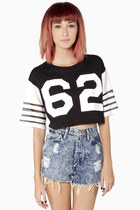 Sports Jersey Crop Top in Black