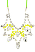 chartreuse Rocks Paper Metal necklace