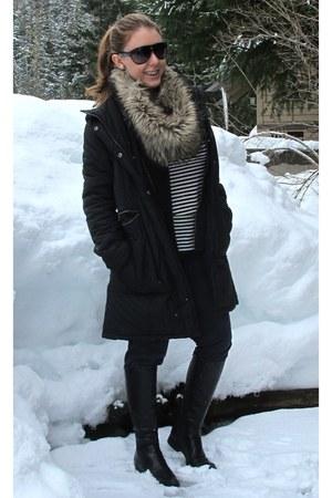 black calvin klein boots - navy BCBGMAXAZRIA jeans - black DKNY jacket