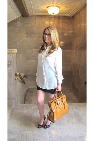 burnt orange Michael Kors bag - white Tahari shirt - dark brown Chanel glasses