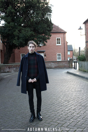 black tartan Jigsaw sweater - black brogues Loake boots - navy wool Topman coat