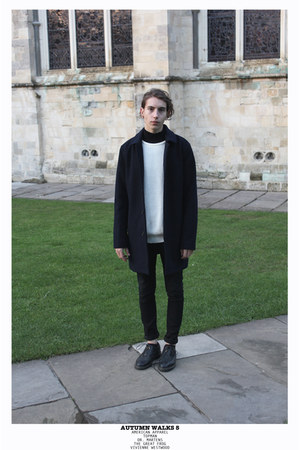 black skinny jeans Cheap Monday jeans - navy wool Topman coat