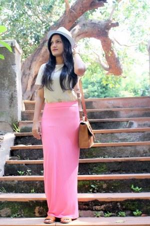 maxi koovscom skirt - satchel Accessorize bag - crop Zara top - Zara flats