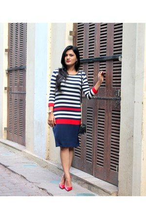 red Zara pumps - stripes Marks&Spencer dress - sling Steve Madden bag